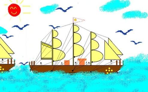 杨帆小船图片手绘